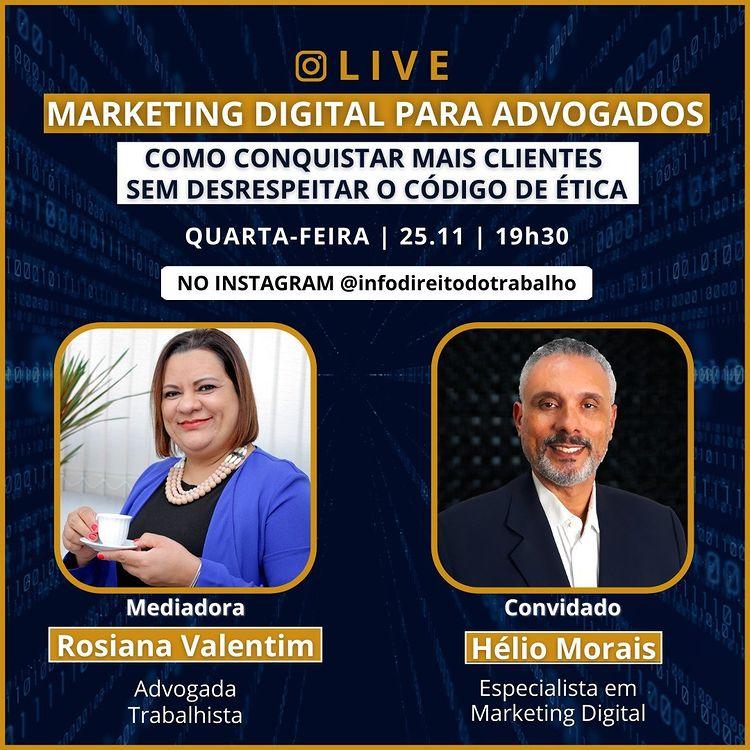 Dia 11.25 às 19h30 - Marketing Digital para Advogados